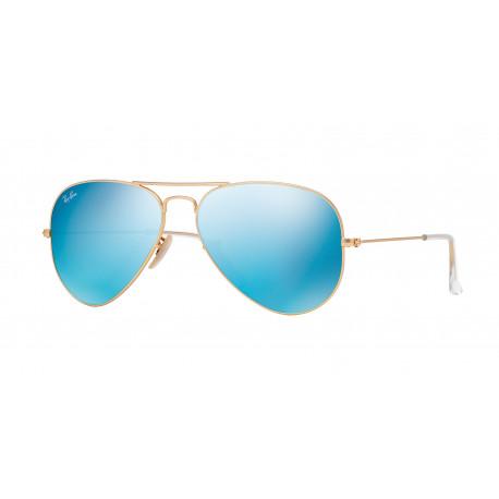 OKULARY PRZECIWSŁONECZNE RAY-BAN® RB3025 112/17 MATTE GOLD/CRYSTAL GREEN MIRROR BLUE AVIATOR r.55
