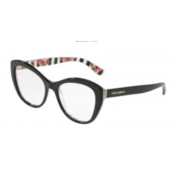 OKULARY DOLCE&GABBANA DG3284 3165 BLACK ON PRINT ROSE r. 53