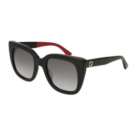 OKULARY PRZECIWSŁONECZNE GUCCI GG0163S 003 SHINY BLACK RED/GREY GRADIENT r.51